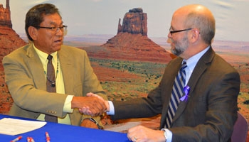 Tribal and EPA Representative handshake