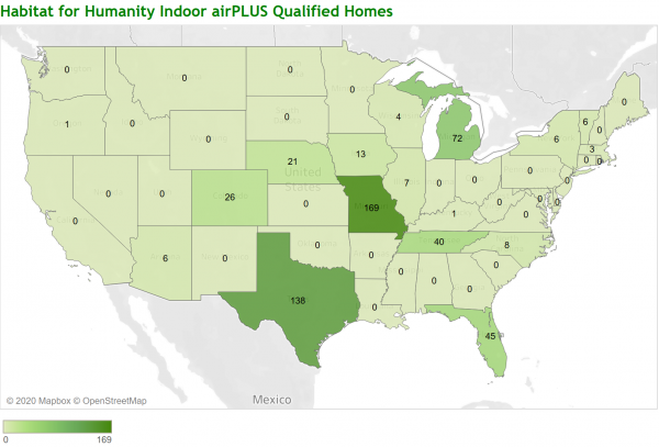 Map to find Habitat Affiliate Indoor airPLUS Partners