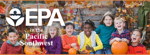Text: EPA in the Pacific Southwest. Image: Children in pumpkin patch, fall colors