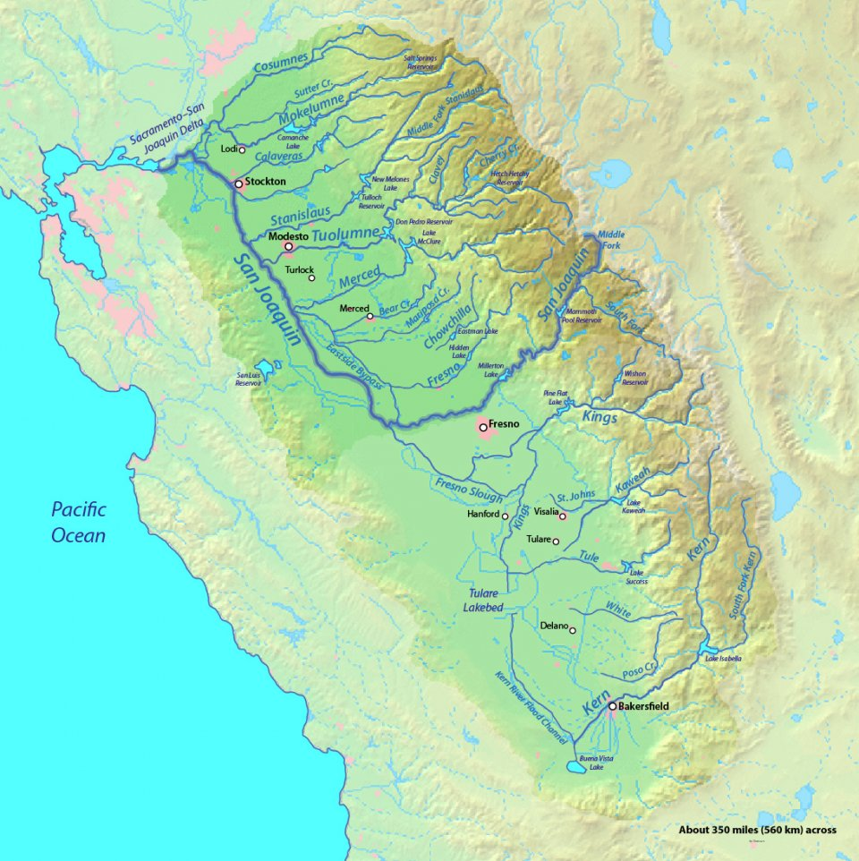 san joaquin valley watershed larger map