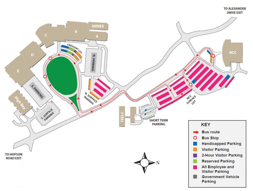 ;Map of the RTP campus showing location of buildings, parking lots, entrances, bus stops and loading docks