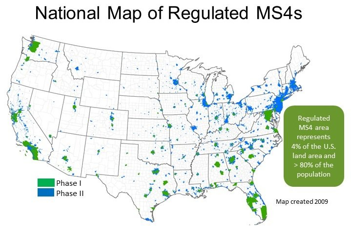 National map of regulated MS4s