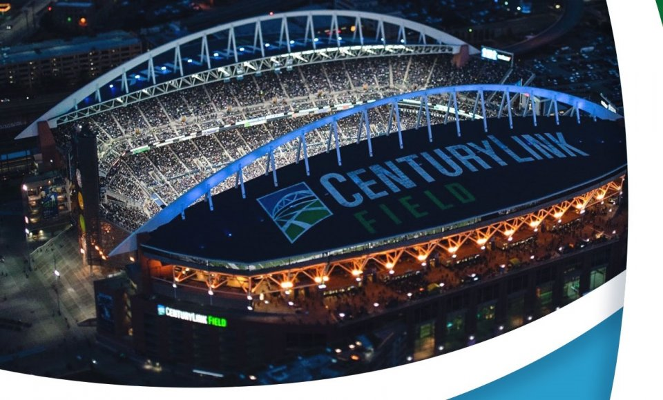 This is an aerial view of CenturyLink Field, the stadium where the Seattle Seahawks play.
