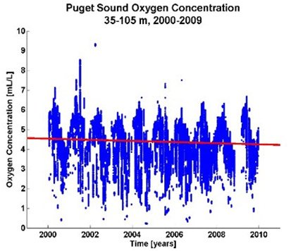 Graph showing the dissolved oxygen data collected in Puget Sound between 2000 and 2009 at a depth interval of 35-105 meters.  A red line through the graph shows a downward trend in oxygen concentration since 2000.
