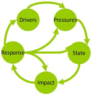 Diagram showing a causal chain analysis framework called Drivers-Pressures-State-Impacts-Response (or DPSIR).