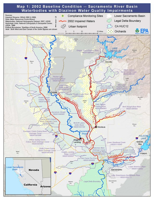 Map 1: Baseline Condition Sacramento River Basin – Waterbodies with Diazinon Water Quality Impairments (click image for larger version)