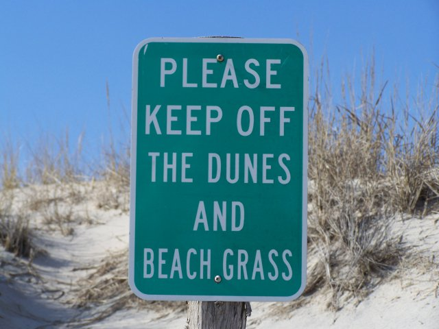 Photo of sign to keep off the dunes and beach grass