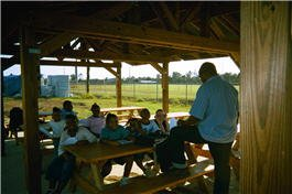 Kids sitting in an outdoor environmental classroom
