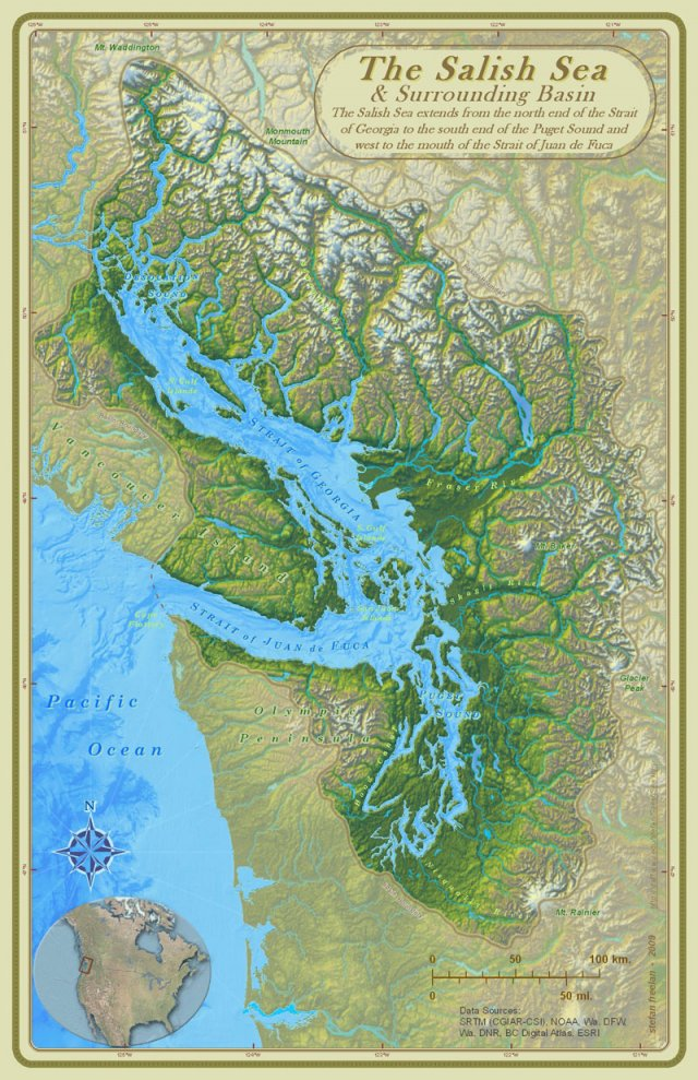 Map of Salish Sea watershed.