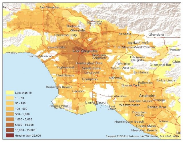 Transit Service Density in the Los Angeles Metropolitan Region