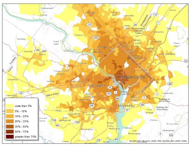 Percentage of all Jobs in the Metropolitan, D.C., Region That are Accessible by Transit