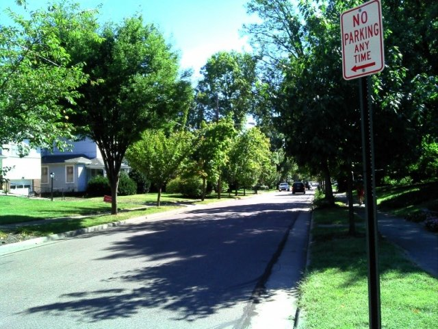 A residential street in the Cincinnati, OH metropolitan area includes street trees