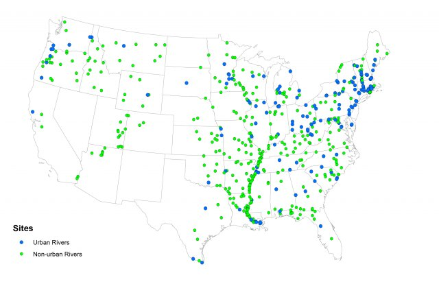 Map: Sampling Locations for the National Rivers and Streams Assessment Fish Tissue Study 2008-2009