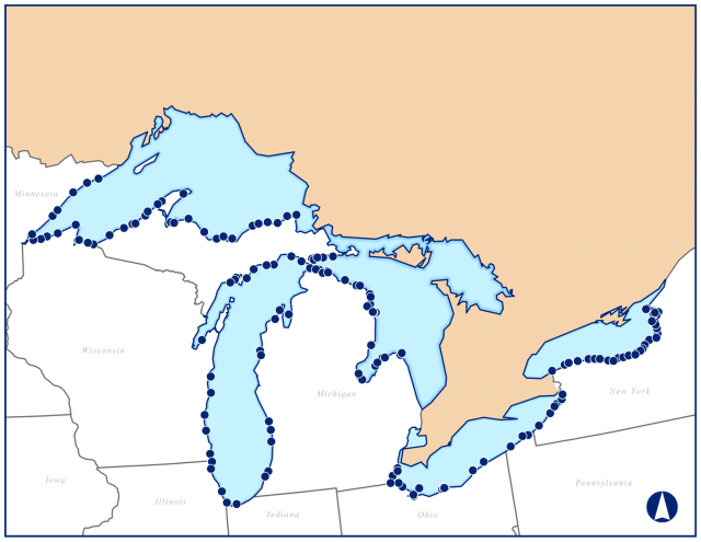 Map: Sampling Locations for the Great Lakes Human Health Fish Tissue Study