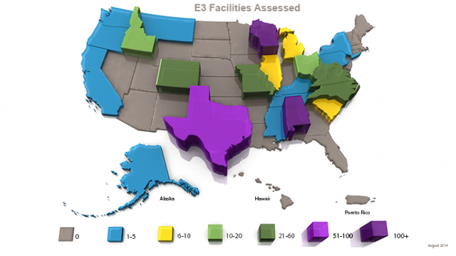Map of US showing states with facilities assessed by E3.