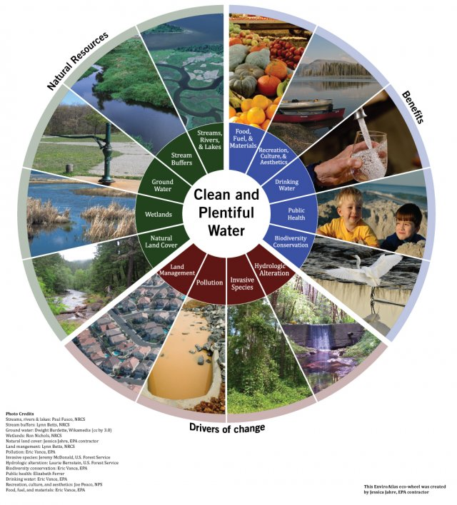 EnviroAtlas Eco-wheel on Clean and Plentiful Water: Shows the resources that provide this service, the benefits to society, and drivers of change.