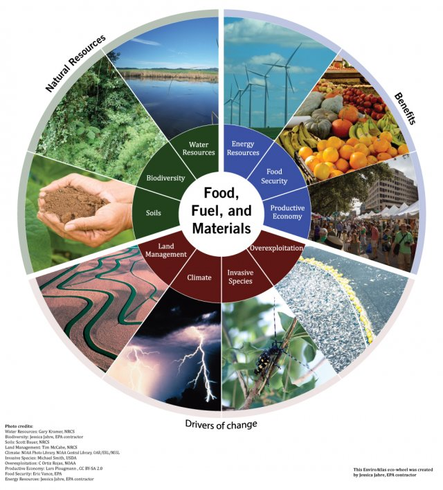 Food, fuel and materials eco-wheel, showing the natural resources that provide these benefits and drivers of change to their provision.