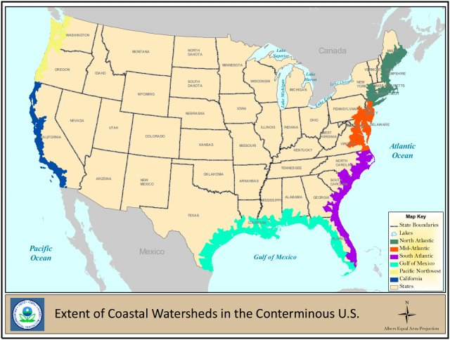 A map highlighting the extent of coastal watersheds in the conterminous U.S.