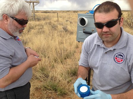 EPA employees set up air sampling at the WIPP.