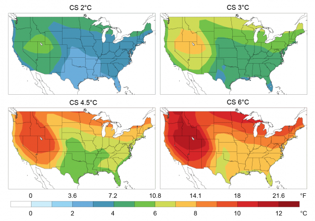 Set of four maps of the U.S showing future temperature change under the Reference scenario using climate sensitivities of 2°C, 3°C, 4.5°C, and 6°C.