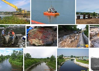 Collage of GE/Housatonic River cleanup photos