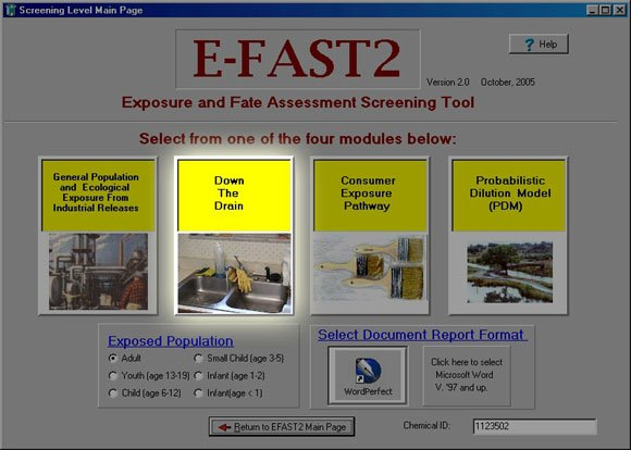 Screen Shot of Initial Page of E-FAST V2.0 System
