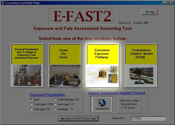 Screen Shot of Initial Page of E-FAST V2.0
