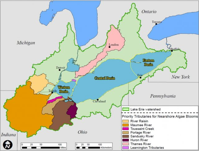 Map of Lake Erie Priority Watersheds