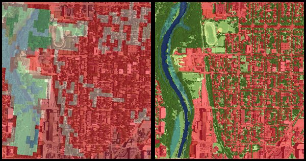 Comparison of urban land cover rasters at 30 meter and 1 meter resolution