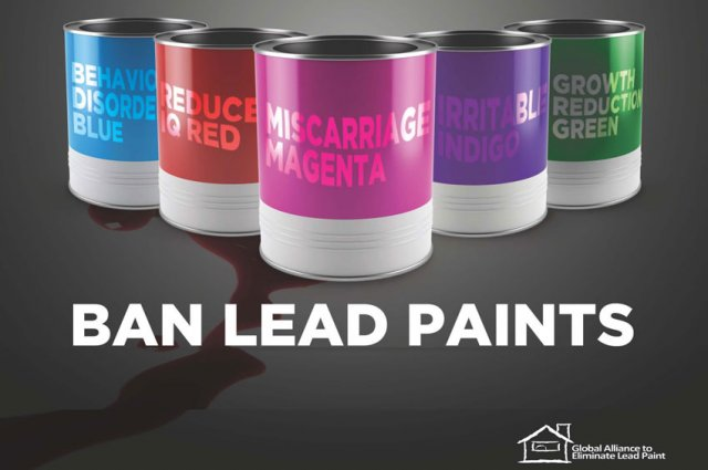 Paint cans with messages that show lead paint can cause lowered IQ, behavioral disorders, and other harm.