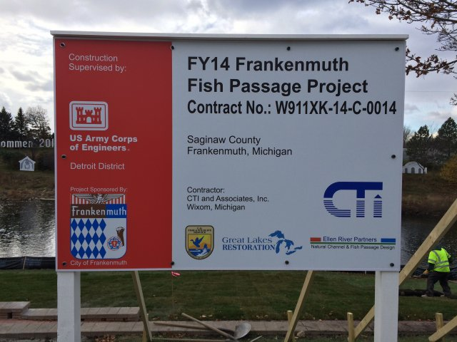 Construction sign about the Frankenmuth Fish Passage Project