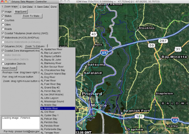 Image of zoom view in Estuary Data Mapper