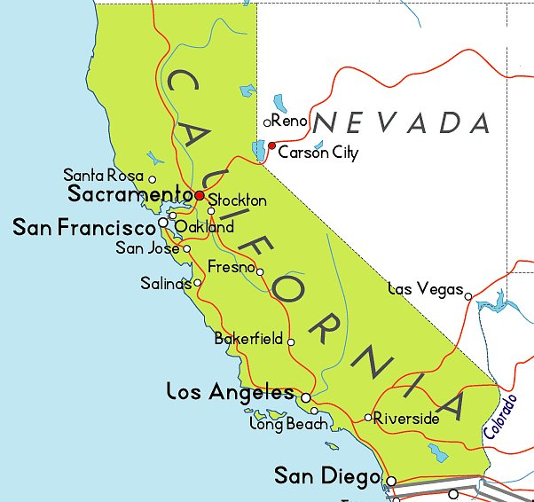 Map of California and its major cities
