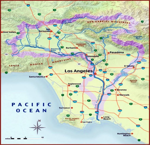 Map of the LA river basin