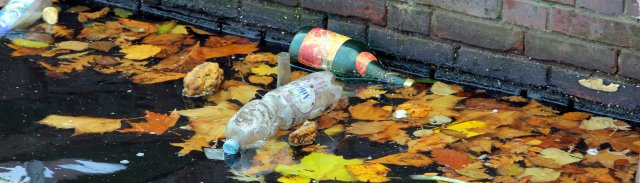 Plastic bottles in stream