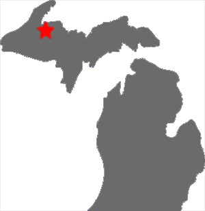 map of Michigan with a star to show where L'Anse is