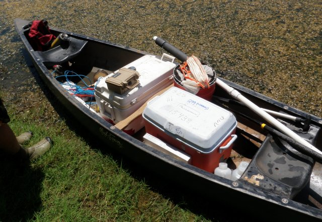 Canoe filled with sampling gear for the NLA 2012