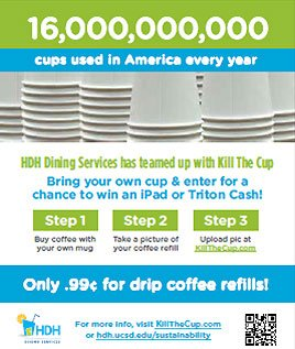 16,000,000 cups used in America every year - HDH Dining Services has teamed up with Kill The Cup - Bring your own cup & enter for a chance to win an iPad or Triton Cash - Step 1: Buy coffee with your own mug Step 2: Take a picture of your coffee refill...