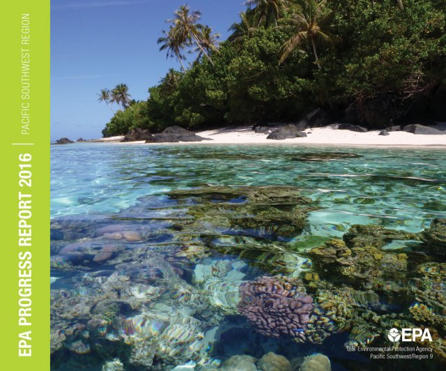 Cover of the 2016 Annual Report | Coral reef in the foreground with light blue water with beach and palm trees beyond.