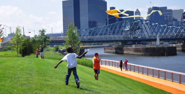 Kite Flying along the new Passaic Riverfront Park in New Jersey