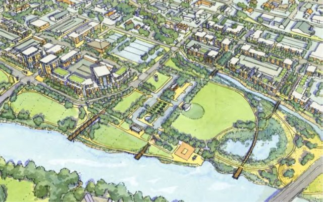 Illustration of the riverfront restoration after removal of wastewater facility.