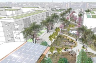 conceptual design showing green infrastructure in a campus corridor
