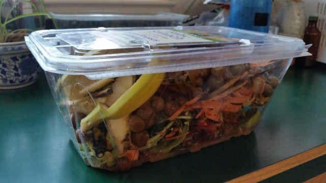 this is a picture of a clear plastic container holding food waste that will be put in a worm composting bin