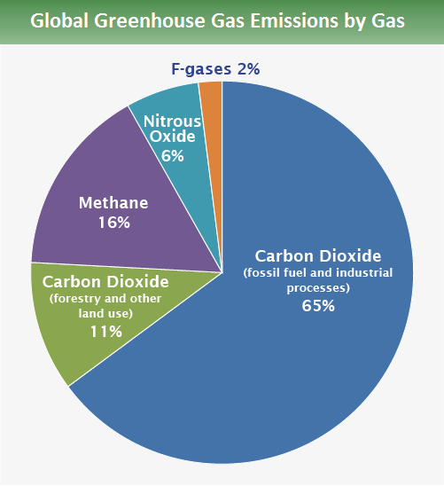 65% is from carbon dioxide fossil fuel use and industrial processes. 11% is from carbon dioxide deforestation, decay of biomass, etc. 16% is from methane. 6% is from nitrous oxide and 2% is from fluorinated gases.