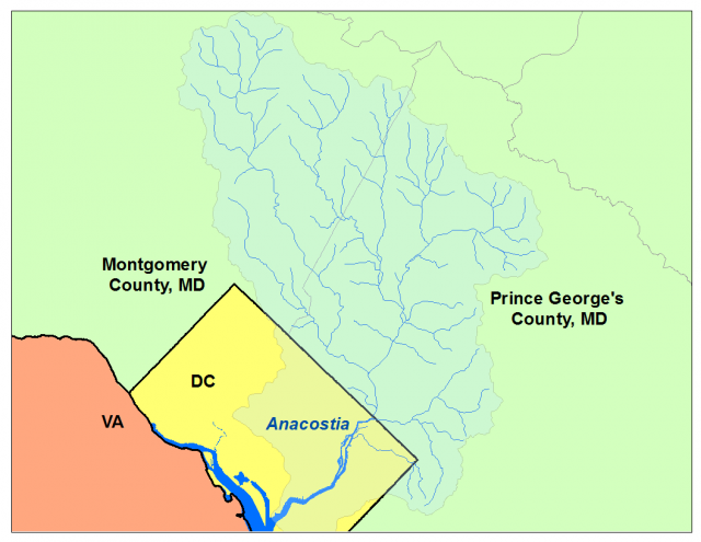 Map of Anacostia River Watershed, which covers the parts of Montgomery County and Prince George's County Maryland and District of Columbia.