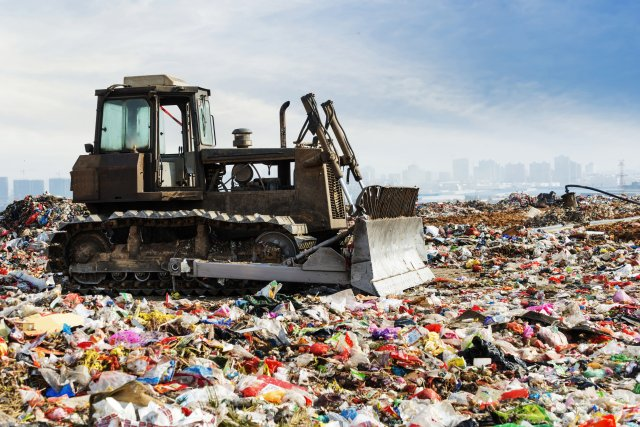 Photo of Landfill with Bulldozer