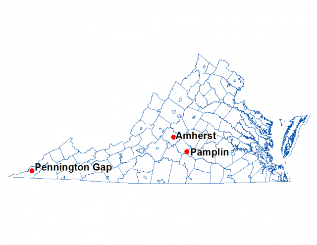 Map of Virginia with the towns of Amherst, Pamplin and Pennington Gap highlighted