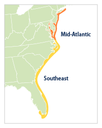 A Closer Look Land Loss Along The Atlantic Coast Climate Change - Map of us atlantic coast
