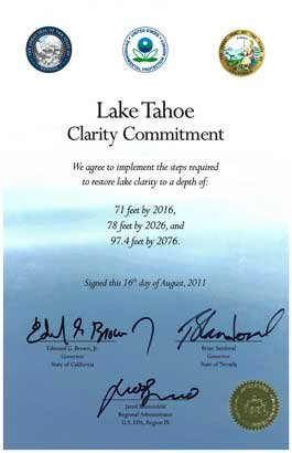 Signed Lake Tahoe Clarity Commitment