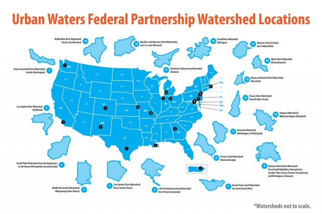 this map shows the 19 locations designated by the Urban Waters Federal Partnership